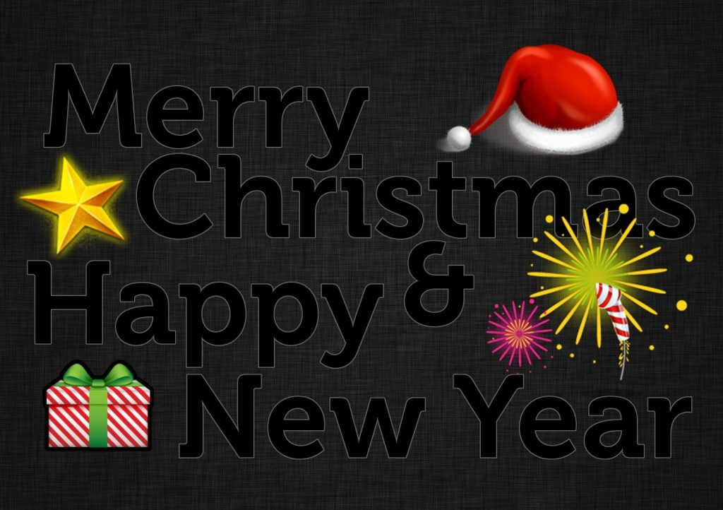 Black Background Happy New Year Merry Christmas