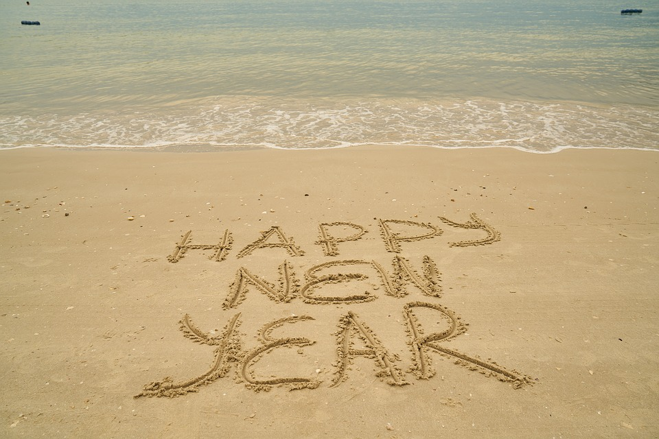 Happy New Year Celebrations On Beach Sand 1