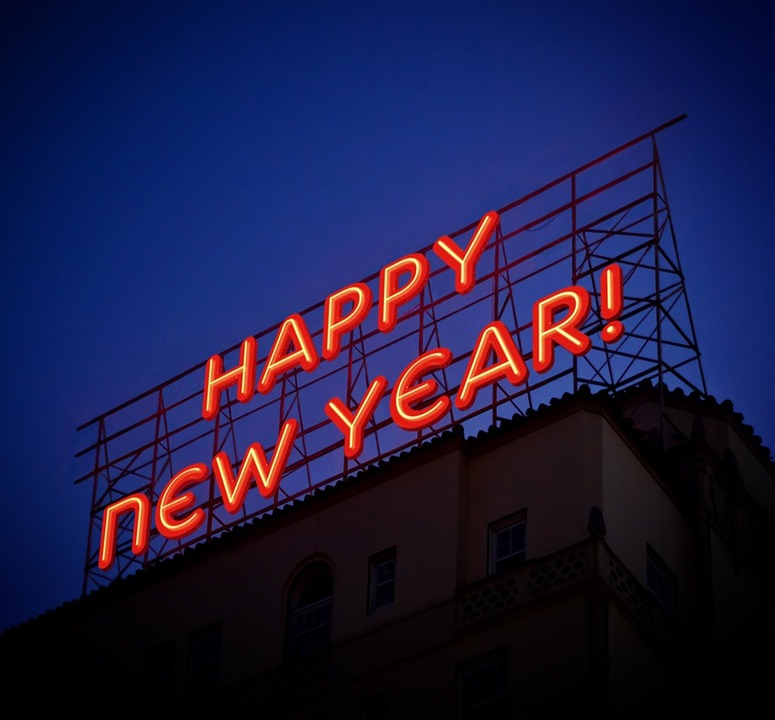 Happy New Year In Advertising Neon Light