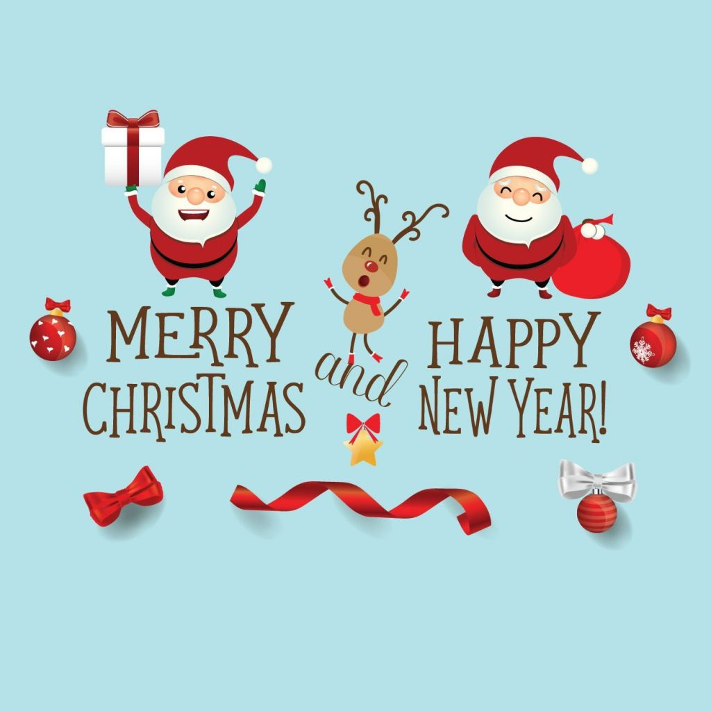 Merry Christmas And Happy New Year Santa Wishes