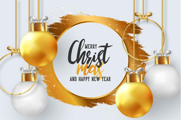 Golden Merry Christmas And Happy New Year