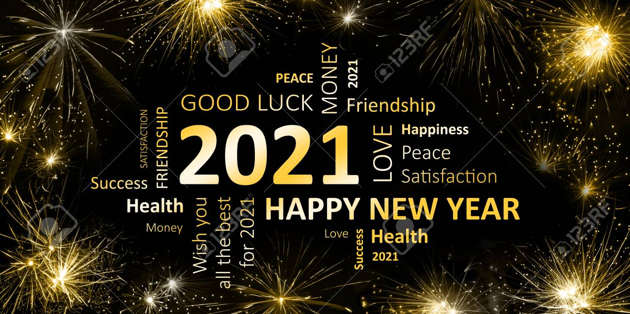 Black Golden New Year Card With Happy New Year 2021