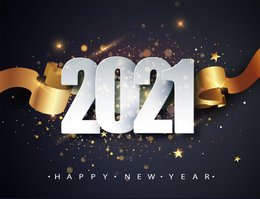 Happy New 2021 Year. Winter Holiday Greeting Card Design Template. New Year Holiday Posters. Happy New Year Dark Festive Background