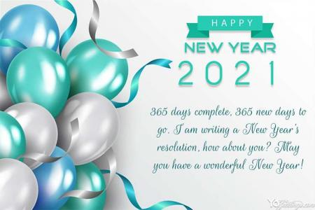 Happy New Year 2021 Cards With Balloons