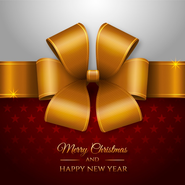 New Year Happy Christmas Ribbon Background