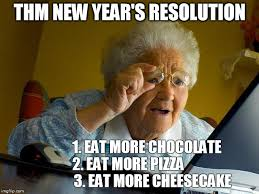 new year resolution about eating chocolate and cheese
