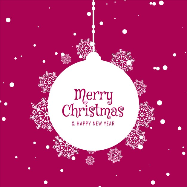 Pink Color Merry Christmas Happy New Year Greeting